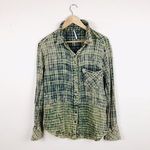 Free People Distressed checkered faded button down